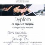 Dyplom dla Chóru Cantabile za I miejsce na Międzynarodowych Muzycznych Zmaganiach Seniorów, Szczecin 2019