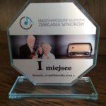 Statuetka za I miejsce dla Chóru Cantabile na Międzynarodowych Muzycznych Zmaganiach Seniorów, Szczecin 2019