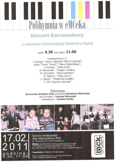 Grafika wydarzenia Polihymnia w eMCeKa – Koncert karnawałowy