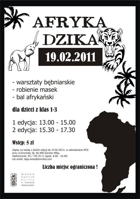 Grafika wydarzenia Afryka Dzika dla dzieci w MCK