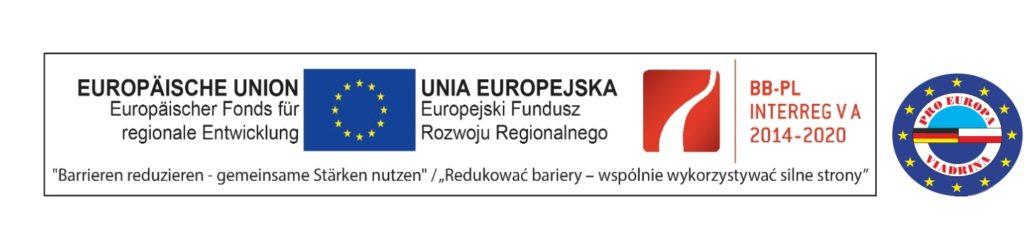 Stopka programu BB-PL Interreg V A 2014-2020 Unia Europejka - Redukować bariery