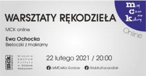 Grafika wpisu Warsztaty rękodzieła z MCK online. Breloczki z makramy