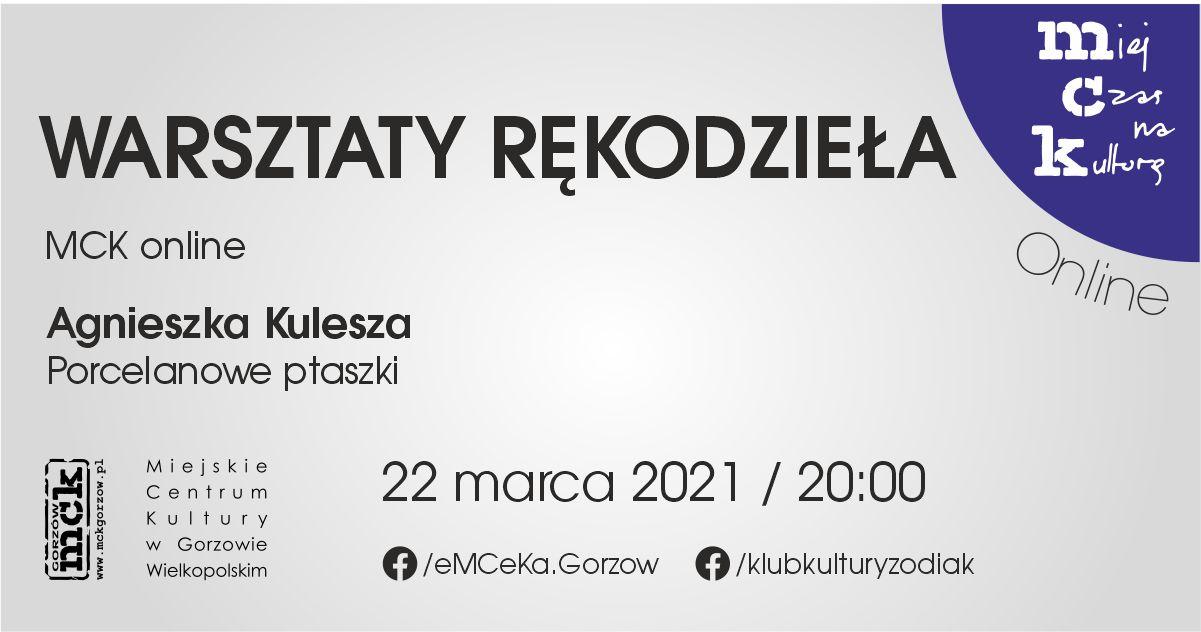 Grafika wydarzenia Warsztaty rękodzieła z MCK online. Porcelanowe ptaszki