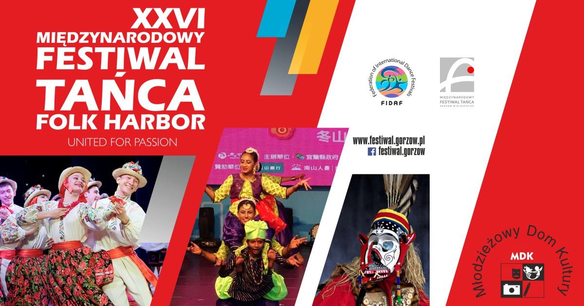 """Grafika wydarzenia XXVI Międzynarodowy Festiwal Tańca """"Folk Harbor"""" – Gorzów 2021"""